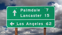 Los Angeles, Palmdale and Lancaster Highway Sign - stock footage