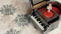 Music box with little ballerina on christmas background - stock footage