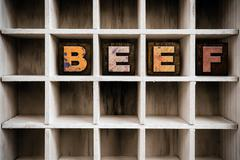 Beef Concept Wooden Letterpress Type in Draw Stock Photos