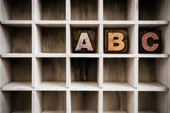 ABC Concept Wooden Letterpress Type in Draw - stock photo