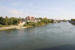 The Danube river in Regensburg Stock Photos
