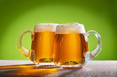 two beers on the table - stock photo