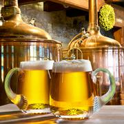 two beers in the brewery - stock photo