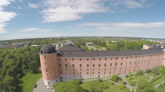 Aerial view of Swedish castle Stock Footage