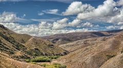 rolling hills in New Zealand during a dry summer Stock Footage
