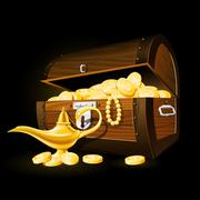 Treasure chest of coins and Aladdin's magic lamp - stock illustration