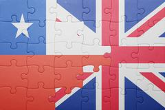 puzzle with the national flag of great britain and chile - stock photo