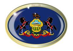 Pennsylvania State Flag Oval Button Stock Illustration