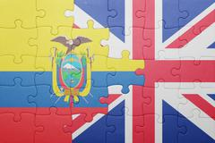 puzzle with the national flag of great britain and ecuador - stock photo