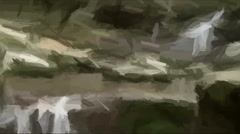 painted waterfall turns into a real - stock footage