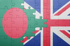 Puzzle with the national flag of great britain and bangladesh Stock Photos