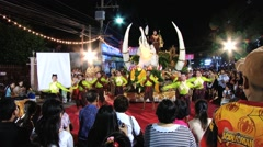 People demonstrate traditional Thai dance in Surin, Thailand. - stock footage