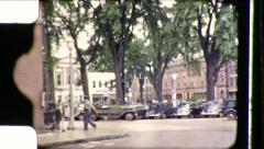 Postman Main Street Small Town America USA Vintage Film Retro Home Movie 8784 - stock footage