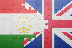 puzzle with the national flag of great britain and tajikistan - stock photo