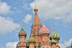 Domes of St. Basil's Cathedral on red square in Moscow. - stock photo