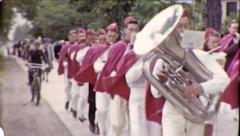 TUBA TOOTS! High School Marching Band 1940s Vintage Film Home Movie 8785 - stock footage