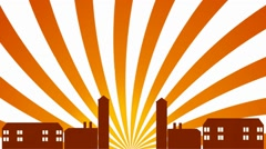 European City - Sunburst - Orange 01 Stock Footage