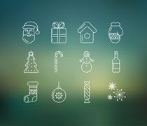 Christmas icons on soft colored abstract background - stock illustration