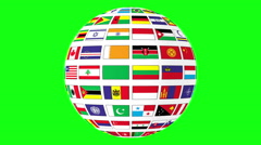 Rotating sphere with world flags isolated on green screen Stock Footage