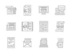 Web publications line icons vector collection - stock illustration