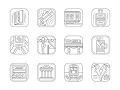 Train station and service flat line vector icons Stock Illustration