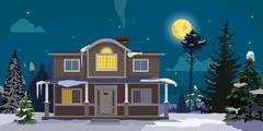 Winter landscape with big house and forest on background. Night, moon, trees - stock illustration