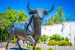 Bull statue in front of the bullfighting arena in Ronda, Spain - stock photo