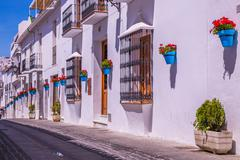 Picturesque street of Mijas. Charming white village in Andalusia, Costa del S Stock Photos