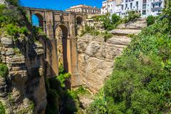 Bridge of Ronda, one of the most famous white villages of Malaga, Andalusia,  Stock Photos