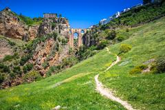 Bridge of Ronda, one of the most famous white villages of Malaga, Andalusia,  - stock photo