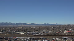 Timelapse busy highway on clear day view of front range Denver area mountains. Stock Footage