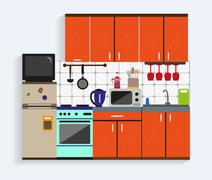 Kitchen interior with furniture in flat style. Design elements and icons Stock Illustration