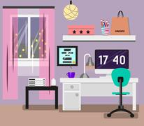 Bedroom Interior flat design. Room in pink colors with window, computer, desk - stock illustration