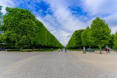 Beautiful gardens in Palace of Versailles, near Paris Stock Photos