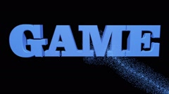 Inscription GAME in blue on black Stock Footage