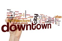 Downtown word cloud concept - stock illustration