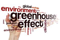 Greenhouse effect word cloud concept Stock Illustration