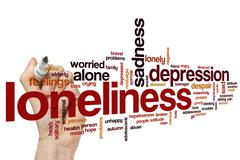 Loneliness word cloud concept Stock Illustration