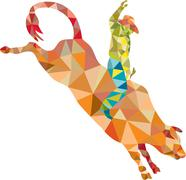 Rodeo Cowboy Bull Riding Low Polygon Piirros