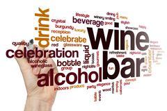 Wine bar word cloud concept - stock illustration