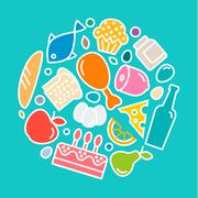 Stock Illustration of Delicious food icons, quality flat style, logo vector illustration set