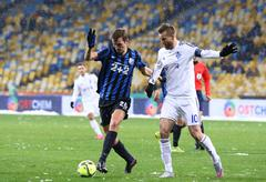Stock Photo of Ukrainian Premier League football game FC Dynamo Kyiv vs FC Chornomorets Odes