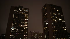 Manhattan New York City Buildings at Night Stock Video - stock footage