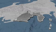 Shizuoka - Japan prefecture extruded. Set of four animations Stock Footage