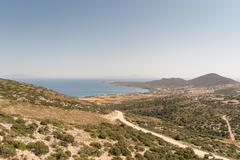 Antiparos island in Greece landscape from top of a mountain. Stock Photos