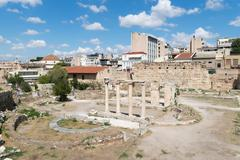 Roman ancient market in Athens ready to welcome tourists and local people. - stock photo