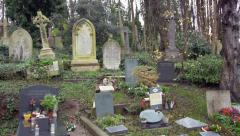 Tombstones in a cemetery Stock Footage