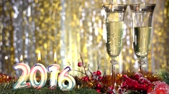 Christmas and New Year Decoration. Burning candles in the form of numbers 2016. - stock footage