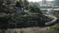 Morning Train Curve In Durban South Africa Near Shanty Town Ghetto Slum - stock footage