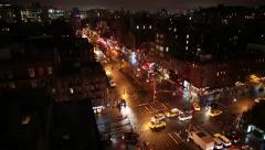 Manhattan New York City Traffic at Night Stock Video - stock footage